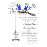 Vintage Bluebirds Yellow & Purple Blooms Wedding Invitation