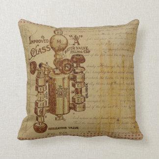 Vintage Blueprint Throw Pillow