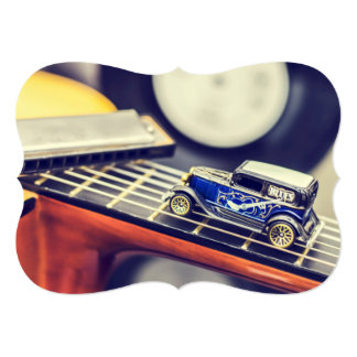 Vintage Blues Miniature Car on Guitar Card 13 Cm X 18 Cm Invitation Card