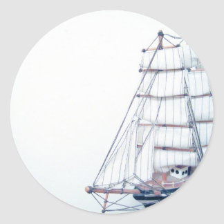 Vintage BlueShip Photo Round Sticker