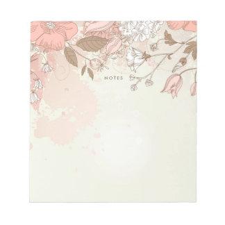 Vintage Blush Botanical Flowers Custom Notepad