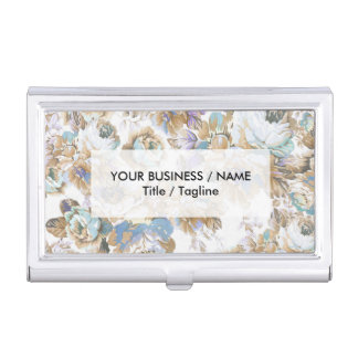 Vintage blush lavender brown teal roses floral business card holder