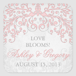 Vintage Blush Pink Grey Floral Wedding Seal Square Sticker