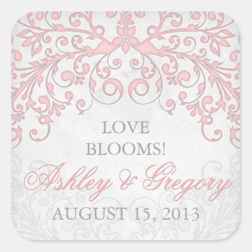 Vintage Blush Pink Grey Floral Wedding Seal Square Stickers