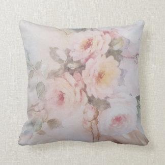 Vintage blush pink rose floral painting cushion