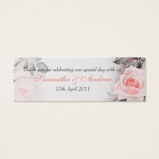 Vintage Blush Pink Rose Wedding Favour Tags Mini Business Card