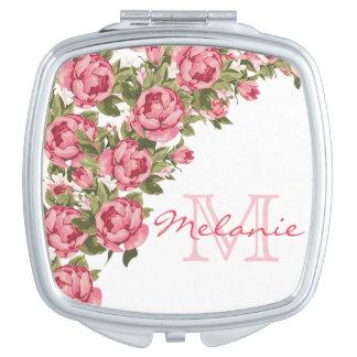 Vintage blush pink roses Peonies name, monogram Compact Mirror