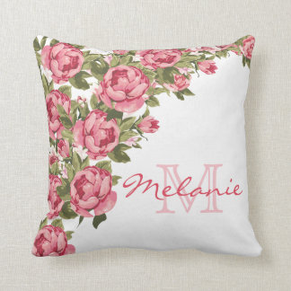 Vintage blush pink roses Peonies name, monogram Cushion