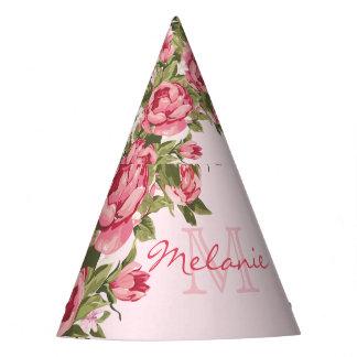Vintage blush pink roses Peonies name, monogram Party Hat