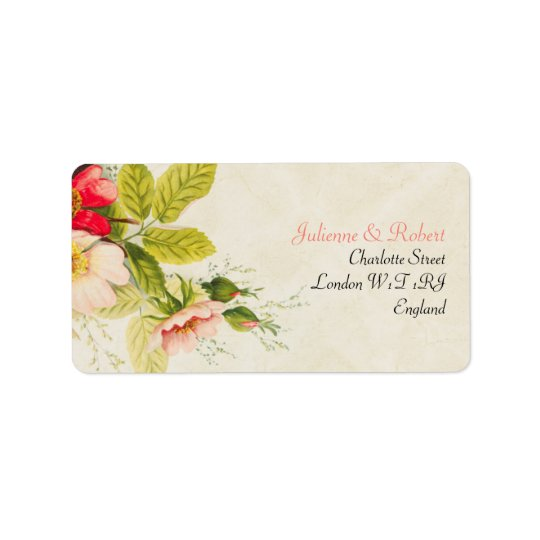 Vintage Blush Roses Bouquet Floral Wedding Label