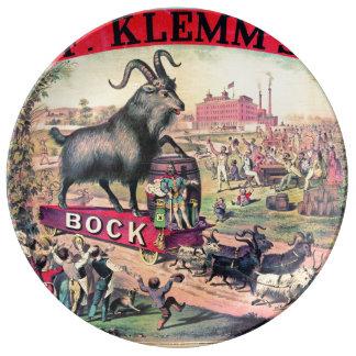 Vintage Bock Beer Ad 1890 Porcelain Plate