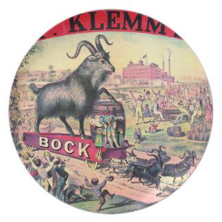 Vintage Bock Beer Ad 1890 Party Plate