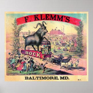 Vintage Bock Beer Ad 1890 Poster