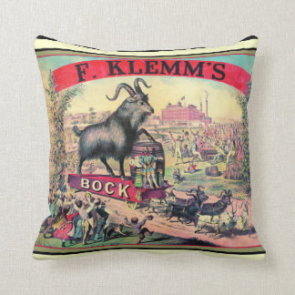 Vintage Bock Beer Ad Man Cave Pillow