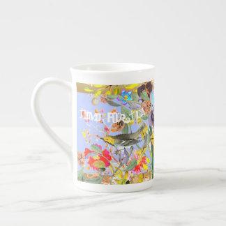 Vintage Bohemian Songbirds Periwinkle Tea Cup