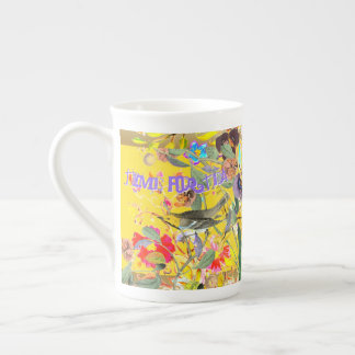 Vintage Bohemian Songbirds Yellow Tea Cup