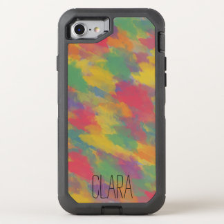vintage Bohemian style colorful brushstrokes OtterBox Defender iPhone 8/7 Case