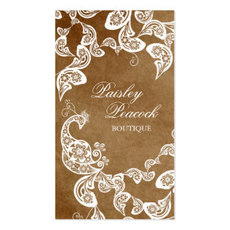 Vintage Boho Chic Paisley Elegant Floral Peacock Pack Of Standard Business Cards