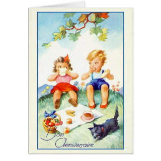 Vintage Bon Anniversaire French Birthday Card