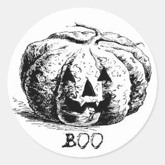Vintage Boo Jack O' Lantern Pumpkin Classic Round Sticker