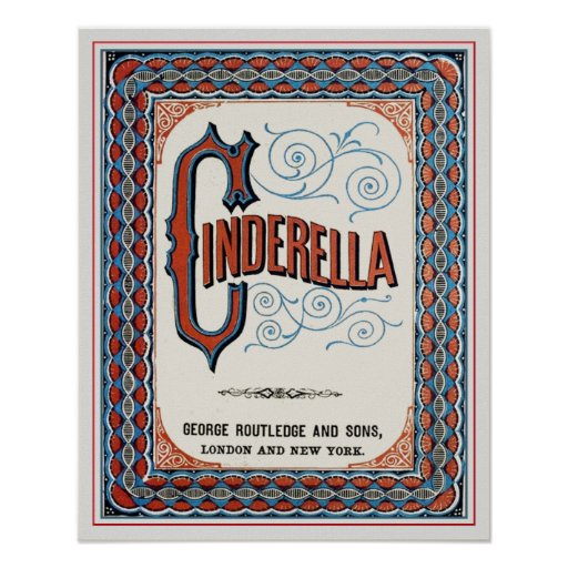 Vintage Book Cover Posters ~ Vintage book cover cinderella poster zazzle