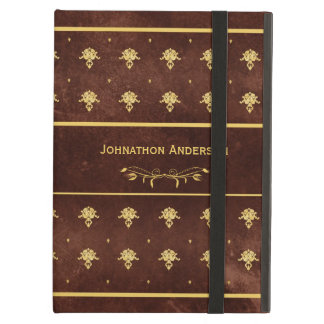 Vintage Book Leather Brown and Gold Damask Pattern Case For iPad Air