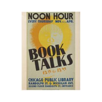 """Vintage """"Book Talks"""" Poster Wood Poster"""