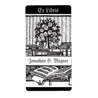 Vintage bookplate music, tree, books shipping label