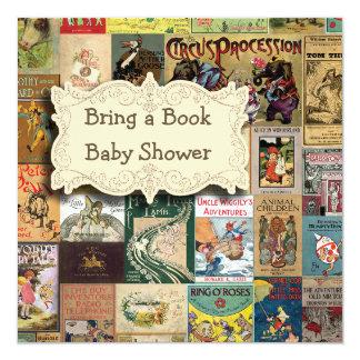 Vintage Books Bring A Book Baby Shower 13 Cm X 13 Cm Square Invitation Card