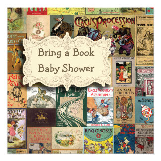 Vintage Books Bring A Book Baby Shower Invite