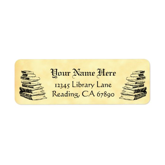 Vintage Books Custom Return Address Faux Parchment Return Address Label