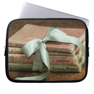 Vintage Books With Mint Ribbon Freelance Writer Laptop Sleeve