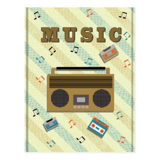 vintage boombox radio post card