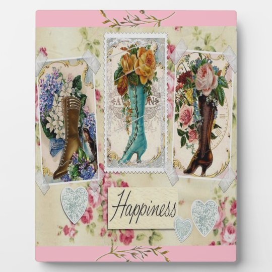 Vintage Boots Floral Hearts Happiness Photo Plaque