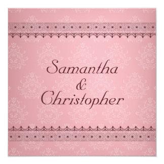 Vintage Bordeaux Deco Lace on Pink Wedding Card
