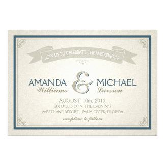 Vintage Border Banner Wedding Invite - blue