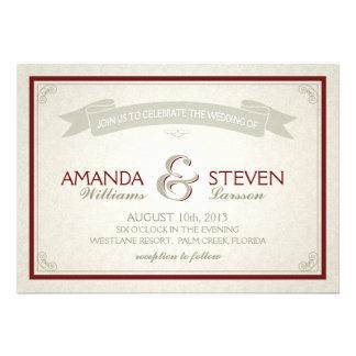 Vintage Border Banner Wedding Invite - burgundy