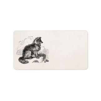 Vintage Border Collie Dog Personalized Retro Dogs Address Label