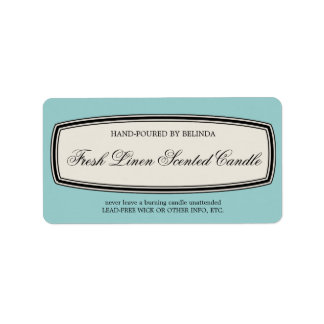 Vintage Border Handmade Candle Label, Pale Blue Address Label