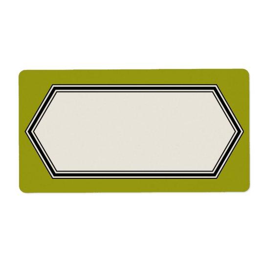 Vintage Border Label Template, Olive Green Shipping Label