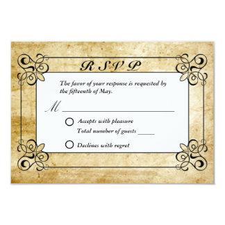 Vintage Border Old Paper Texture Wedding RSVP Card 9 Cm X 13 Cm Invitation Card