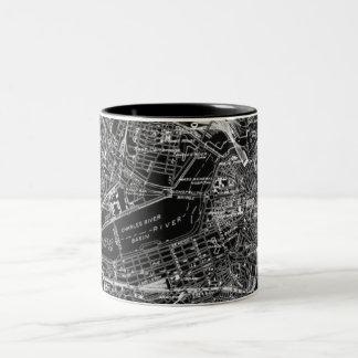 Vintage Boston Black and White Map Two-Tone Coffee Mug
