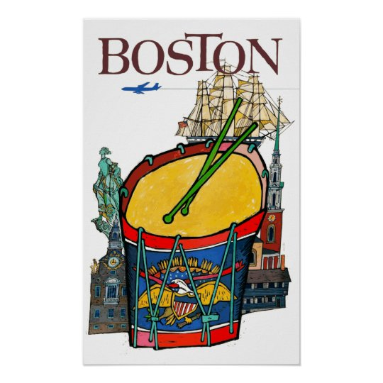 Vintage Boston Travel Poster
