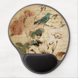 vintage botanical art rose teal bird floral girly gel mouse pad