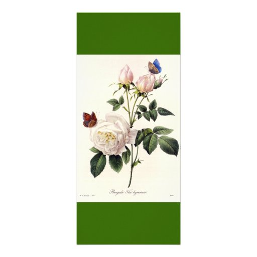 Vintage botanical art white rose flowers bookmark rack card template