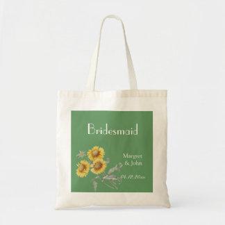 Vintage botanical art yellow sunflowers bridemaid budget tote bag