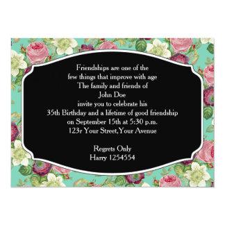 Vintage Botanical Blossom Country Chic 14 Cm X 19 Cm Invitation Card