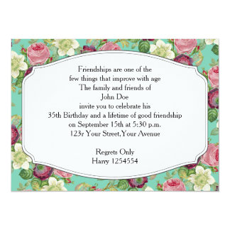 Vintage Botanical Blossom Country Chic 5.5x7.5 Paper Invitation Card