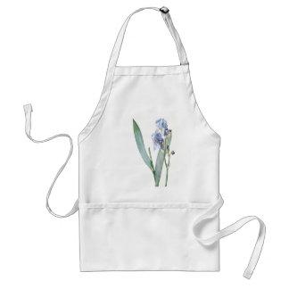 Vintage Botanical Blue Iris Flowers Apron