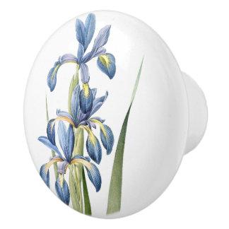 Vintage Botanical Blue Iris Flowers Floral Knob